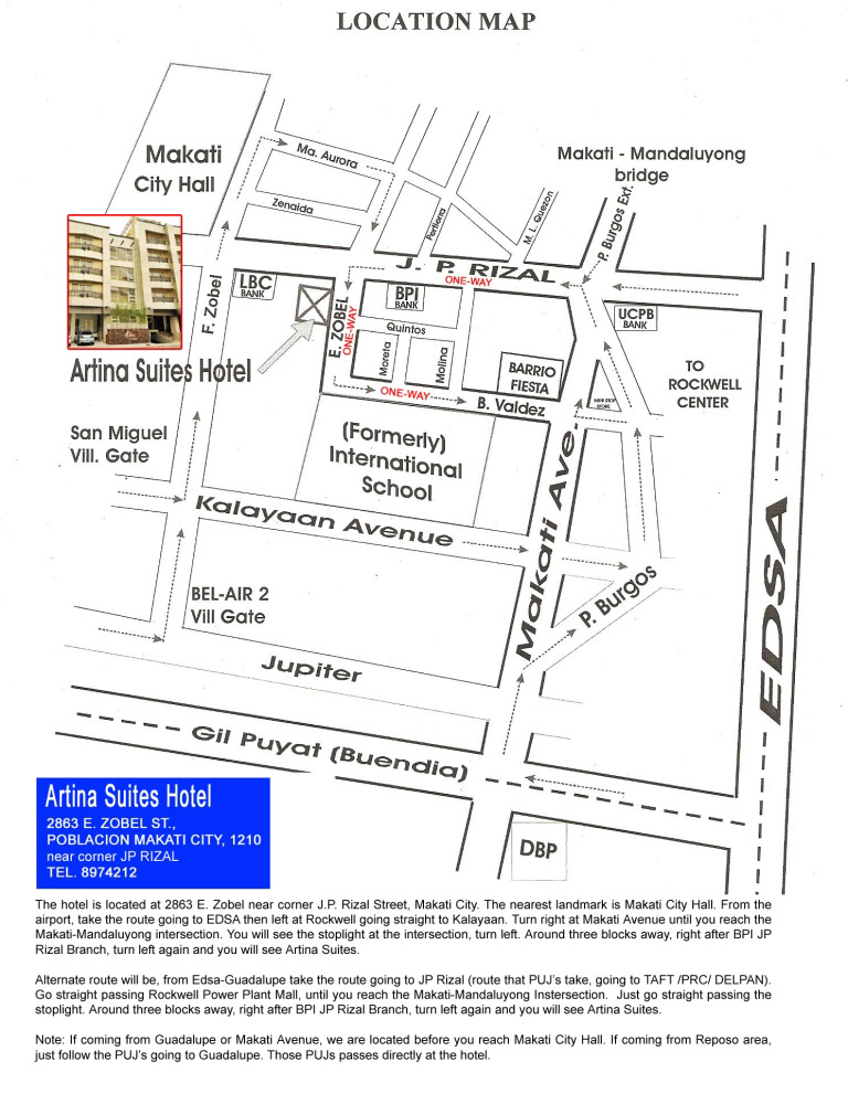 Map for Taxi - Artina Suites Hotel, Manila Philippine